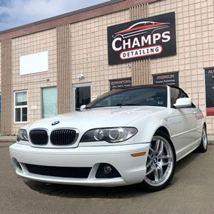 Car-Detailing-Edmonton-Bmw-In-Front-Of-Champs-Detailing