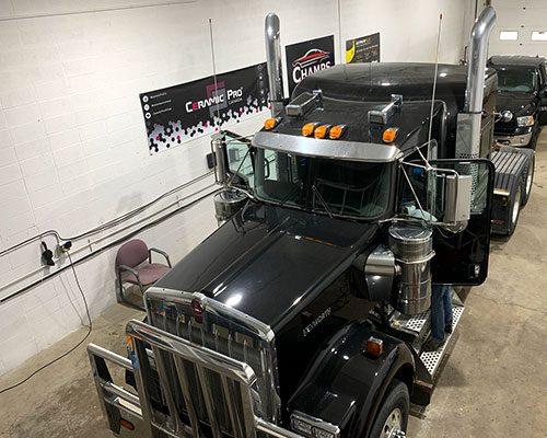 Semi-Trucks-Inside-Champs-Detailing-Shop